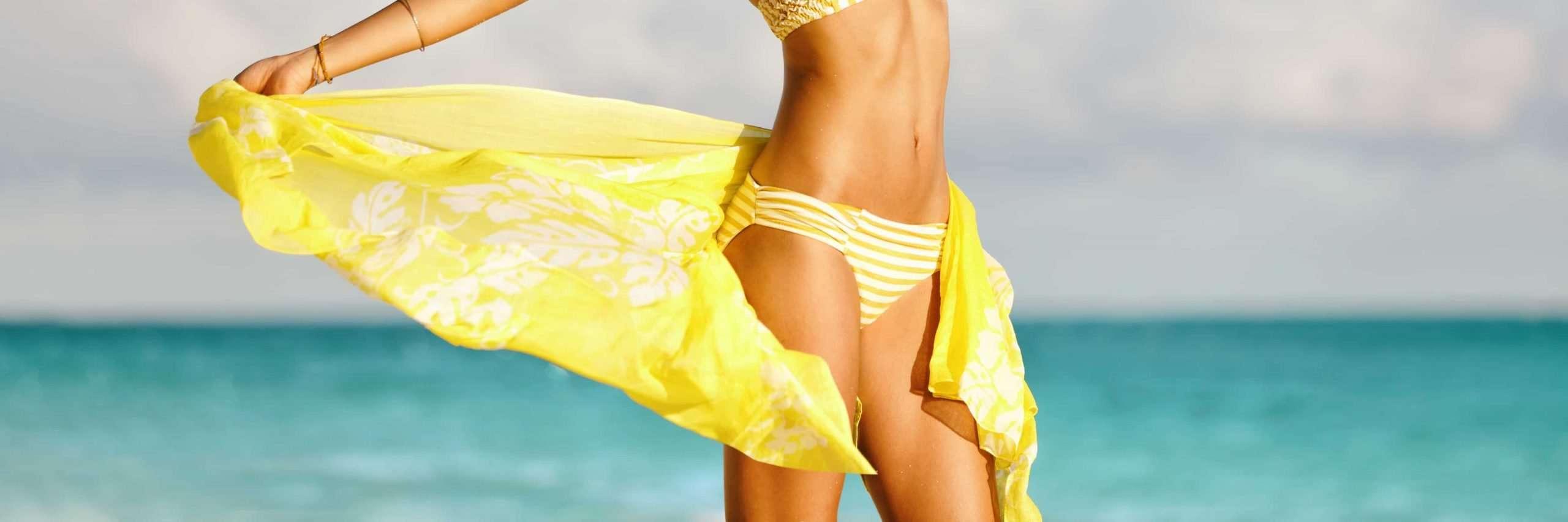 Bikini woman with yellow scarf